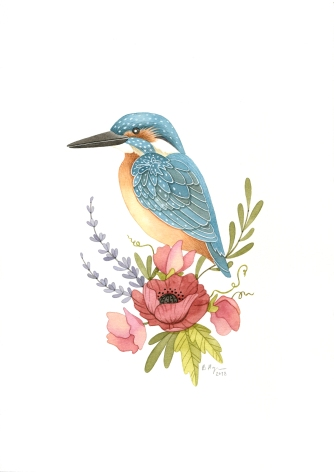 Kingfisher & Wildflowers